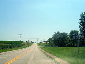 U.S. Route 275 - Southern terminus of US 275 at US 136 near Rock Port, Missouri