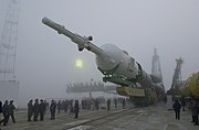 Soyuz tm-31 transported to launch pad