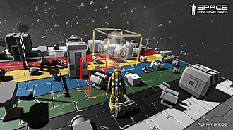 Space Engineers - Screenshot of the game demonstrating the addition of new components to an existing structure.