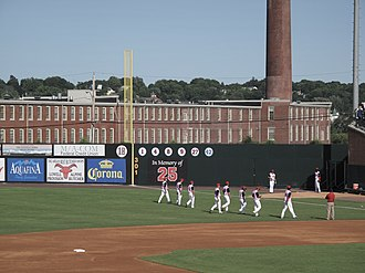 Lowell Spinners - Spinners warming up at LeLacheur Park, 2009