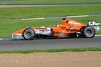 Christijan Albers - Albers driving at Silverstone after Spyker's purchase of the team.