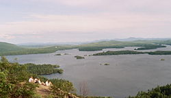 Squam Lake from a mountaintop: a typical vista in the Lakes Region