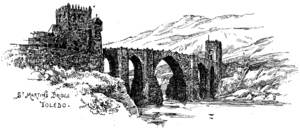 Puente de San Martín (Toledo) - A Victorian depiction of St. Martins Bridge.