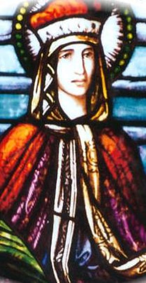 Saint Ludmila (oratorio) - The image of Saint Ludmila from a stained glass window at St. Ludmila's Church, Cedar Rapids, Iowa.