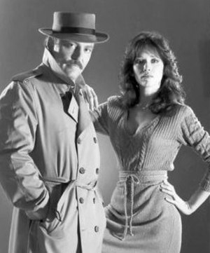 Stacy Keach - Keach as Mike Hammer and Tanya Roberts as Velda in Murder Me, Murder You in 1983
