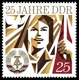 """25 years of the GDR"" 1974 postage stamp commemorating the 25th anniversary of East Germany's establishment on 7 October 1949 Stamps of Germany (DDR) 1974, MiNr 1951.jpg"
