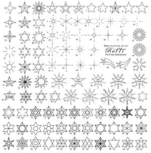 Flash (tattoo) - Tattoo flash sets include a black and white stencil sheet, and may include a pre-colored sheet as well.