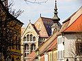 State Archives of Hungary detail and the Lutheran church tower, Budapest (294) (13228397584).jpg