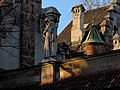 Statue on the attic, Cloister, Vajdahunyad Castle, Budapest (353) (13227830643).jpg