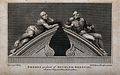 """Statues of """"raving"""" and """"melancholy"""" madness, each reclining Wellcome V0013193.jpg"""