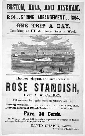Hull, Massachusetts - Steamer Rose Standish, operating between Boston, Hull and Hingham, 1864