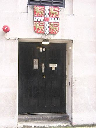 Coat of arms of the University of Cambridge - Image: Stephenson Way the back of Bentley House (geograph 1973687)