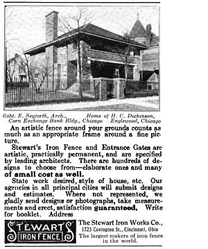Stewart Iron Works - An advertisement for the Stewart Iron Works Co. that appeared in the February 1909 edition of House and Garden featuring one of the company's fences installed in front of a home designed by the Chicago architect Robert Seyfarth.