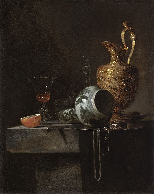 Filestill Life With A Porcelain Vase Silver Gilt Ewer And Glasses
