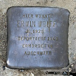 Photo of Erwin Wolff brass plaque