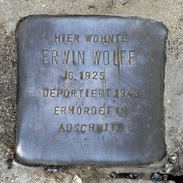 Photo of Erwin Wolff brass plaque