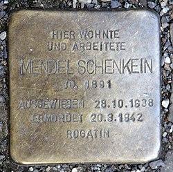Photo of Mendel Schenkein brass plaque