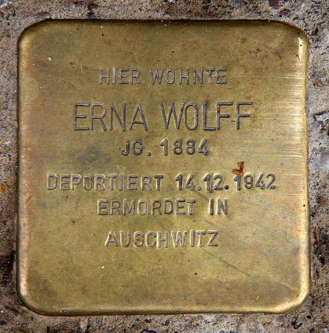 Photo of Erna Wolff brass plaque