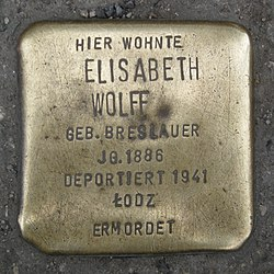 Photo of Elisabeth Wolff brass plaque