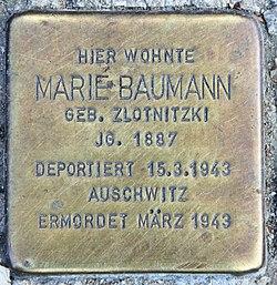 Photo of Marie Baumann brass plaque