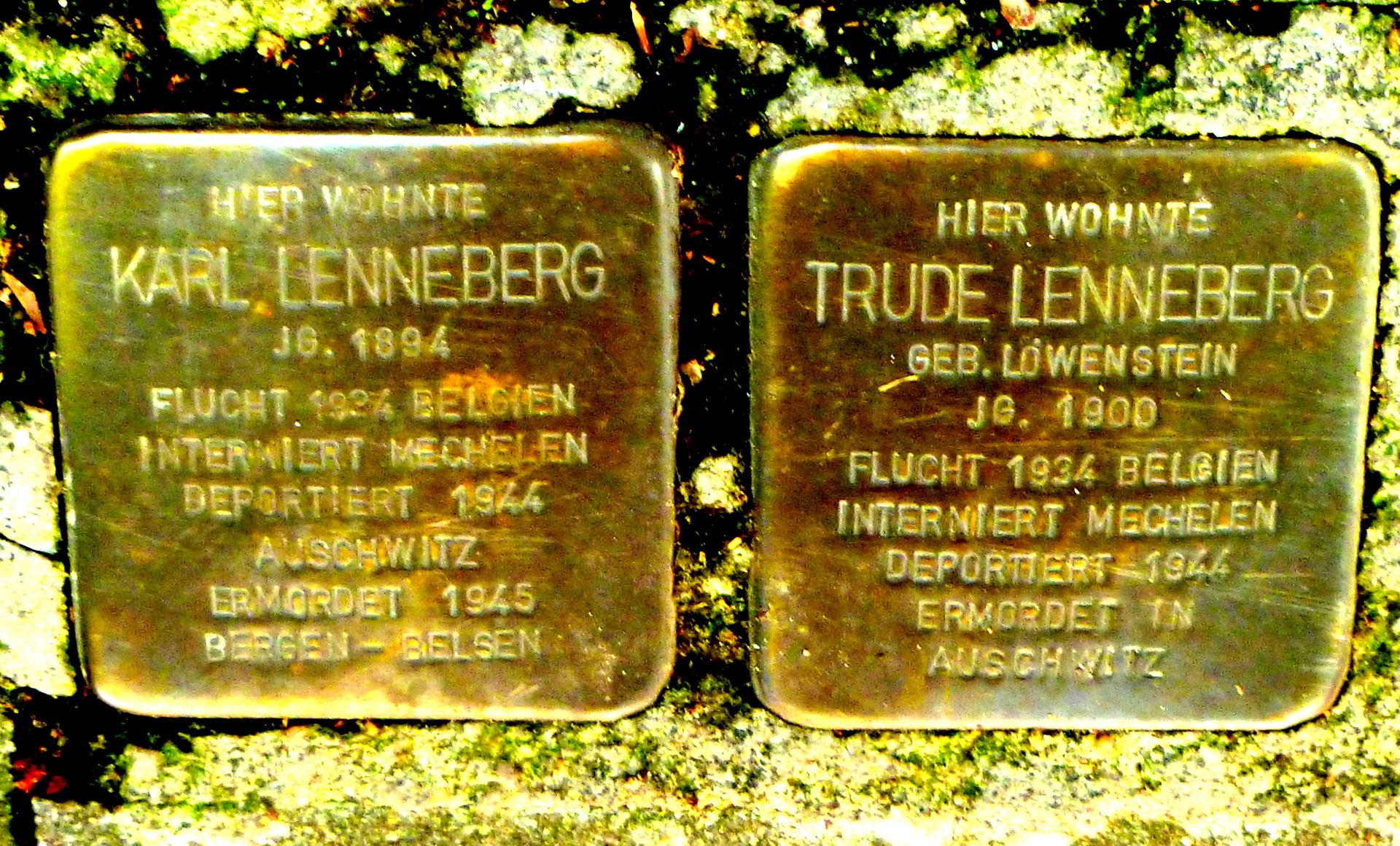 Stolpersteine Trude und Karl Lenneberg, Aachen.JPG