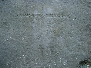 Stonehenge - Graffiti on the sarsen stones include ancient carvings of a dagger and an axe