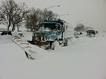 Abandoned vehicles on Lake Shore Drive in Northern Illinois after a large snowstorm