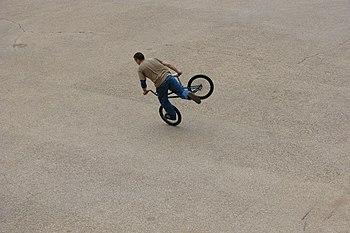Stunt bicyclist
