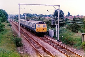 Manchester, South Junction and Altrincham Railway - A Class 304 unit near Sale in 1989.