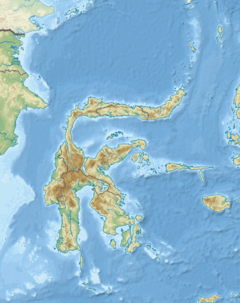 Map of Sulawesi with a dot on the west coast of the southern peninsula