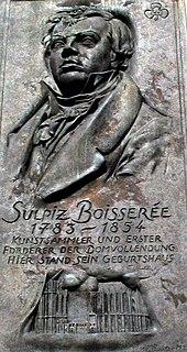 Sulpiz Boisserée. Gedenktafel am Geburtshaus in Köln, Blaubach 14 (von dem Bildhauer Wolfgang Reuter aus Köln) (Quelle: Wikimedia)