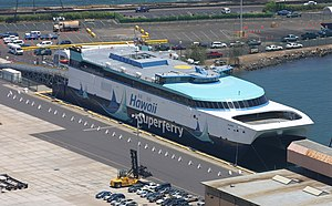 Hawaii Superferry - An aerial view of Alakai at Nawiliwili Harbor on Kaua{{okina}}i during her Open House on August 19, 2007