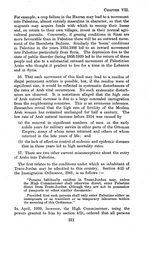 "Demographic history of Palestine (region) - The ""Survey of Palestine"" of the British Government in Palestine, 1946, commenting on misconceptions around illegal Arab immigration"