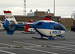 Swedish Police Eurocopter EC 135 helicopter on a practice mission.