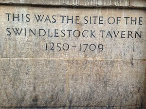 St Scholastica Day riot - The plaque commemorating the place of the Swindlestock Tavern, from 1250 to 1709