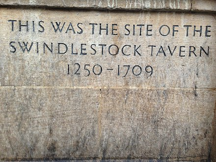 The plaque commemorating the site of the Swindlestock Tavern from 1250 to 1709 Swindlestock tavern plaque.jpeg