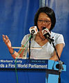 Sylvia Lim at a Workers' Party general election rally, Bedok Stadium, Singapore - 20110430 (cropped).jpg