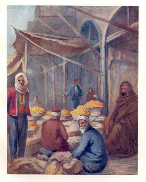 Syria THE FRUIT BAZAAR. DAMASCUS. 1908. Old Vintage Color Print.