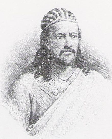 Emperor Tewodros II's rise to the throne marked the end of the Zemene Mesafint. Tewodros II.jpg