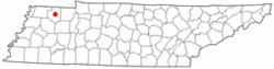 Location of Dresden, Tennessee