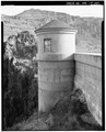 TURRETHOUSE ON DOWNSTREAM PARAPET WALL. VIEW TO NORTHEAST. - Owyhee Dam, Across Owyhee River, Nyssa, Malheur County, OR HAER ORE,23-NYS.V,1-20.tif