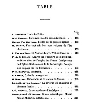 Paul Émile de Puydt - Image: Table of Contents PANARCHIE published in 1860