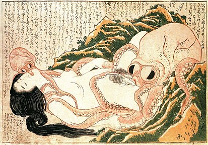 The Dream of the Fisherman's Wife by Hokusai is an artistic depiction of a sexual fantasy. Tako to ama retouched.jpg