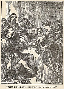 Arthur Rackham illustration of Act 5, Scene 2 (Katherina is the only wife to respond to her husband); from Tales from Shakespeare, edited by Charles Lamb and Mary Lamb (1890). TamingShrew01.JPG