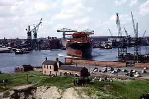 Swan Hunter - Tanker Ottawa launch, Wallsend shipyard, circa 1964