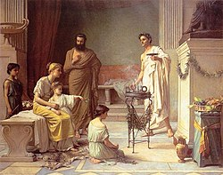 John William Waterhouse: A Sick Child brought into the Temple of Aesculapius