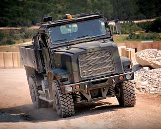 TerraMax - An Oshkosh 4x4 MTVR fitted with TerraMax autonomous technology; this vehicle had previously participated in 2007 DARPA Grand Challenge