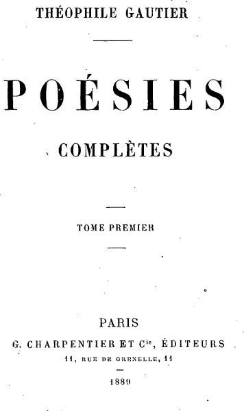 File:Théophile Gautier - Poésies complètes, I.djvu