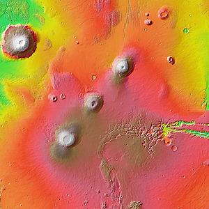 Tharsis Montes - Image: Tharsis Montes MOLA zoom 64