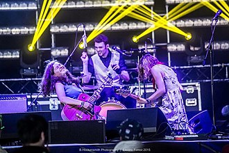 The Accidentals - The Accidentals performing in 2015 at the Jubilee Electric Forest Festival; from left to right: Katie Larson, Michael Dause and Savannah Buist.